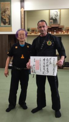 Yushu Shihan Ehrung durch Großmeister Dr. Masaaki Hatsumi Soke
